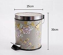 Haus & Küche Fuß betrieben Trash Can Badezimmer Wohnzimmer Haushalt mit Abdeckung Küche Fuß Lagerung Fass Office Wastebasket ( Farbe : A )