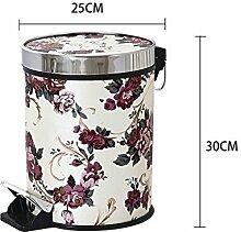 Haus & Küche Fuß betrieben Trash Can Badezimmer Wohnzimmer Haushalt mit Abdeckung Küche Fuß Lagerung Fass Office Wastebasket ( Farbe : B )