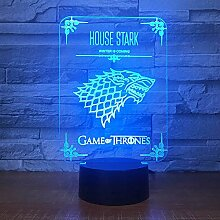 Haus Stark Game Of Thrones Wolf Acryl 3D LED Lampe