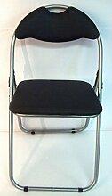 Haus und Garten: Stuhl Klapphocker mit Rückenlehne und Sitz weich Kunstleder; Ideal für Haus Garten, Camping, Wohnwagen schwarz