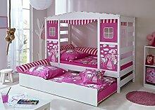 Hausbett Hochbett Spielbett Massivholz Kiefer Weiss Horse Pink, Bettkasten:Marianne