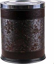 Haushalt Mülleimer mit Deckel Mülleimer Material Leder Spezifikation 31.0 * 24.5Cm , Brown