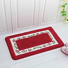 Haushalt Teppiche- Eingangsmatten Foyer Tür Fußmatte Schlafzimmer Matten Badezimmer WC Matte Küche saugfähige rutschfeste Matte Computer Stuhl Matten Osmanen -Teppiche ( farbe : Rot , größe : 45 Cm × 75 Cm )