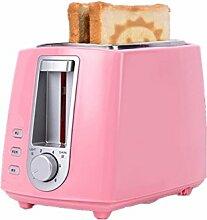 Haushalts Brot 2 Scheiben Brot und Frühstück Mini Toaster Maschine automatische Multifunktionsmaschine (rot, rosa, weiß) 680-800W , pink