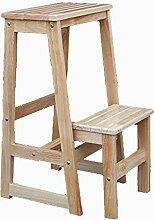 Haushalts-fester Holz-2 Schritt-Schemel-beiläufiger Bartisch-Schemel (Farbe : Natural color)