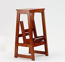 Haushalts-fester Holz-2 Schritt-Schemel-beiläufiger Bartisch-Schemel (Farbe : Jujube Red)