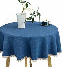 Haushalts Runde Tischdecke Einfarbig, Baumwolle