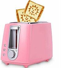 Haushalts Toaster 2-Scheiben-Toaster automatische Brotmaschine Backmaschine (weiß, rosa, rot) / 680W , pink