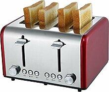 Haushalts Toaster 4 Scheiben-Toaster Edelstahl automatische Brotmaschine Backmaschine (gelb, rot) 1200W , red