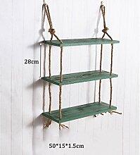 Haushaltsgegenstände 3 Tiers Massivholz-Hanf-Seil-Regal-Wand-hängendes Wohnzimmer Kreatives einfaches Wand-Dekorations-Speicher-Zahnstange -CRS-ZBBZ ( Farbe : #3 )