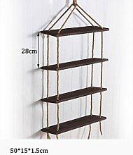 Haushaltsgegenstände 4 Tiers Massivholz-Hanf-Seil-Regal-Wand-hängendes Wohnzimmer Kreatives einfaches Wand-Dekorations-Speicher-Zahnstange -CRS-ZBBZ ( Farbe : #3 )