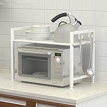 Haushaltsgegenstände Double Layer Küche Regal Mikrowelle Ofen Rack Storage Rack Metall Dicker Kohlenstoffstahl (L60 * W32 * H48cm) -CRS-ZBBZ ( Farbe : Weiß )