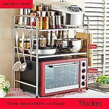Haushaltsgegenstände Edelstahl-Küche Regal / Mikrowelle Backofen Regal / Ofen Rack / Storage Rack / Gewürz Rack / Boden Werkzeughalter Thicker (Single / Double / Three Layer) -CRS-ZBBZ ( Farbe : #22 )