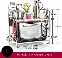 Haushaltsgegenstände Küche Regal Mikrowelle Ofen Rack Lagerung Rack Dicker 304 Edelstahl 2 Tiers / Large -CRS-ZBBZ