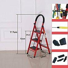 Haushaltsleiter Falterleiter der Leiter nach Hause verdickte Innenbewegliche Treppenleiter der Manncharakterleiterbewegliche Treppe, die Mehrzweckrolltreppe ist ( Farbe : Rot )