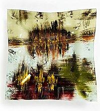 Hausmann & Söhne Deko Schale Glas |Glasteller | Deko Glasschale | Design Schale |Tischdeko | beige schwarz rot gold | Geschenkidee