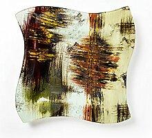 Hausmann & Söhne Deko Schale Glas |Glasteller | Deko Glasschale | Design Schale |Tischdeko | beige rot grün schwarz gold| Geschenkidee