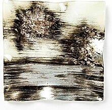 Hausmann & Söhne Deko Schale Glas |Glasteller | Deko Glasschale | Design Schale |Tischdeko | beige braun gold silber | Geschenkidee