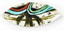 Hausmann & Söhne Deko Schale Glas |Glasteller | Deko Glasschale | Design Schale |Tischdeko | rot blau schwarz weiß gold| Geschenkidee