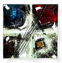 Hausmann & Söhne Deko Schale Glas |Glasteller | Deko Glasschale | Design Schale |Tischdeko | rot blau schwarz weiß silber| Geschenkidee