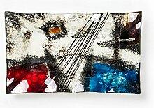 Hausmann & Söhne Deko Schale Glas |Glasteller | Deko Glasschale | Design Schale |Tischdeko | rot blau schwarz weißsilber | Geschenkidee