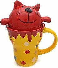 Hausmann & Söhne Katzen-Tasse mit Punkten für Kinder   Ideale Geschenk-Idee für jedes Kind   250 ml Porzellan-Tasse mit Henkel   Abdeckung in Form einer Katze   2 teilig