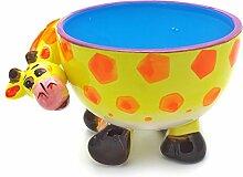 """Hausmann & Söhne Lustige Müslischale für Kinder – verspielte Schüssel mit Tier Motiv als Giraffe aus Keramik, robuste und langlebige Schale in Gelb Blau Rot, das """"Must have"""" für Groß und Klein Geschenk-Idee"""