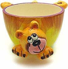 """Hausmann & Söhne Lustige Müslischale für Kinder – verspielte Schüssel mit Tier Motiv als Bär Teddy aus Keramik, robuste und langlebige Schale in Gelb Orange Braun, das """"Must have"""" für Groß und Klein Geschenk-Idee"""