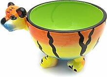 """Hausmann & Söhne Lustige Müslischale für Kinder – verspielte Schüssel mit Tier Motiv als Tiger aus Keramik, robuste und langlebige Schale in Gelb Rot Grün, das """"Must have"""" für Groß und Klein Geschenk-Idee"""