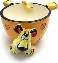 """Hausmann & Söhne Lustige Müslischale für Kinder – verspielte Schüssel mit Tier Motiv als Leopard aus Keramik, robuste und langlebige Schale in Orange Gelb, das """"Must have"""" für Groß und Klein Geschenk-Idee"""