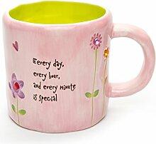 Hausmann & Söhne Tasse groß, rosa, Blumen Schmetterling Motiv mit Strass Steinen verziert   Tasse mit Spruch   300ml (400ml randvoll)   Kaffeetasse/Teetasse aus Keramik (Ton)   die perfekte Geschenk-Idee