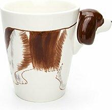 Hausmann & Söhne Tasse groß, weiß, lustig mit Tier Motiv in 3D Hund Cocker Spaniel  350ml (400ml randvoll)   Kaffeetasse/Teetasse aus Keramik (Porzellan)   die perfekte Geschenk-Idee