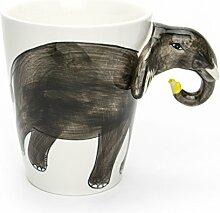 Hausmann & Söhne Tasse groß, weiß, lustig mit Tier Motiv in 3D Elefant   350ml (400ml randvoll)   Kaffeetasse/Teetasse aus Keramik (Porzellan)   die perfekte Geschenk-Idee