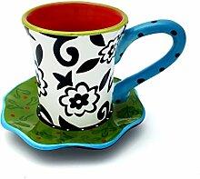Hausmann & Söhne Tasse mit Untersetzer im Blumenmuster   2-teiliges Porzellan-Geschirr   Handbemalt   Bunte Geschenkidee Geschenk-Idee  Weiß Rot Grün