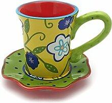 Hausmann & Söhne Tasse mit Untersetzer im Blumenmuster   2-teiliges Porzellan-Geschirr   Handbemalt   Bunte Geschenkidee Geschenk-Idee  Gelb Rot Grün