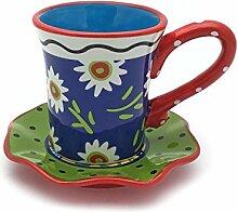 Hausmann & Söhne Tasse mit Untersetzer im Blumenmuster   2-teiliges Porzellan-Geschirr   Handbemalt   Bunte Geschenkidee Geschenk-Idee  Blau Grün Ro