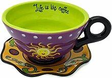 Hausmann & Söhne Tee-Tasse mit Untersetzer mit Sonne Design   2-teiliges Porzellan-Geschirr   Handbemalte Kaffeetasse   Bunte Geschenkidee   Lila Grün Gelb