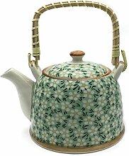 Hausmann & Söhne Teekanne   Teebereiter mit Sieb und Henkel aus Bambus (850ml)   Aus Porzellan Geschenk-Idee   Chinesisches Blumenmuster   Grün, beige Geschenkidee