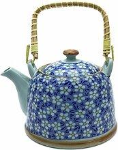 Hausmann & Söhne Teekanne   Teebereiter mit Sieb und Henkel aus Bambus (850ml)   Aus Porzellan Geschenk-Idee   Chinesisches Blumenmuster   Blau, weiß Geschenkidee