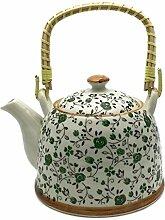 Hausmann & Söhne Teekanne   Teebereiter mit Sieb und Henkel aus Bambus (850ml)   Aus Porzellan Geschenk-Idee   Chinesisches Blumenmuster   Beige, Oliv Geschenkidee