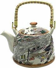 Hausmann & Söhne Teekanne   Teebereiter mit Sieb und Henkel aus Bambus (850ml)   Aus Porzellan Geschenk-Idee   Chinesische Karikatur Marktplatz Schiffe  Beige Geschenkidee