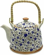 Hausmann & Söhne Teekanne   Teebereiter mit Sieb und Henkel aus Bambus (850ml)   Aus Porzellan Geschenk-Idee   Chinesisches Blumenmuster   Weiß, blau Geschenkidee