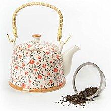 Hausmann & Söhne Teekanne   Teebereiter mit Sieb und Henkel aus Bambus (850ml)   Aus Porzellan Geschenk-Idee   Chinesisches Blumenmuster   Beige, Rot Geschenkidee