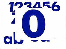 Hausnummer 0 in BLAU - HÖHE: 65mm, 3mm dick