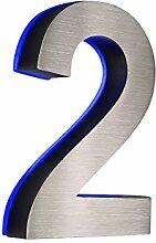 Hausnummer 2 LED 3D Edelstahl V2A beleuchtet blau