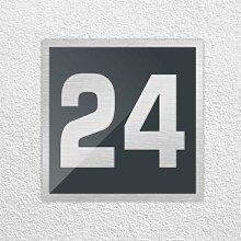 Hausnummer 250x250mm aus Edelstahl mit Acrylglas