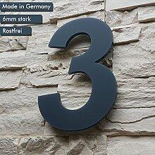 Hausnummer 3 ( 1-stellig / 26cm Ziffernhöhe ) in