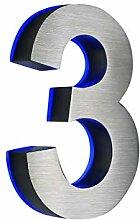 Hausnummer 3, Edelstahl, 3D, beleuchtet, 180mm