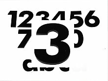 Hausnummer 3 SCHWARZ - HÖHE: 65mm, 3mm dick