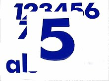 Hausnummer 5 BLAU - HÖHE: 65mm, 3mm dick (KEINE